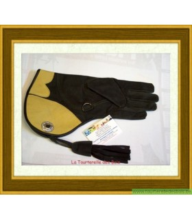 Gant cuir nubuck noir et jaune 36.5cm